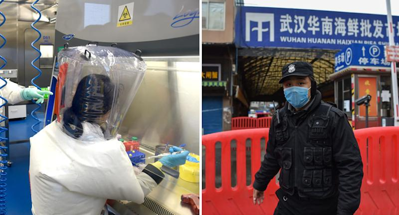 The Wuhan Institute of Virology (left) and the Wuhan seafood market (right) are two locations that have been at the centre of speculation around the virus's origins. Source: Getty