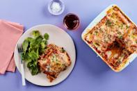 """Layer criminis into this quick and easy lasagna recipe. If you plan ahead by assembling the <a href=""""https://www.epicurious.com/recipes-menus/best-easy-casserole-recipes?mbid=synd_yahoo_rss"""" rel=""""nofollow noopener"""" target=""""_blank"""" data-ylk=""""slk:casserole"""" class=""""link rapid-noclick-resp"""">casserole</a> over the weekend, you'll barely have enough time to make <a href=""""http://www.epicurious.com/expert-advice/how-to-make-the-best-garlic-bread-ever-article?mbid=synd_yahoo_rss"""" rel=""""nofollow noopener"""" target=""""_blank"""" data-ylk=""""slk:garlic bread"""" class=""""link rapid-noclick-resp"""">garlic bread</a> before dinner is ready—it cook in just 15 minutes. <a href=""""https://www.epicurious.com/recipes/food/views/microwave-lasagna-with-spinach-mushrooms-and-three-cheeses?mbid=synd_yahoo_rss"""" rel=""""nofollow noopener"""" target=""""_blank"""" data-ylk=""""slk:See recipe."""" class=""""link rapid-noclick-resp"""">See recipe.</a>"""