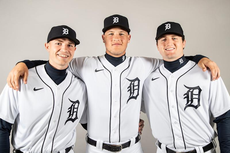 From left, pitchers Tarik Skubal, Matt Manning and Casey Mize pose for a photo during Detroit Tigers spring training at TigerTown in Lakeland, Fla., Thursday, Feb. 20, 2020.