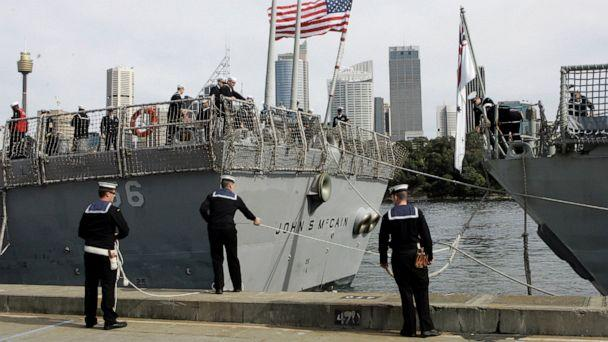PHOTO: In this Aug. 20, 2008, file photo, Australian sailors tie up the USS John S McCain (DDG-56) as she arrives in Sydney, Australia for the 100th Anniversary of the Great White Fleet. (AP Photo/Rob Griffith)