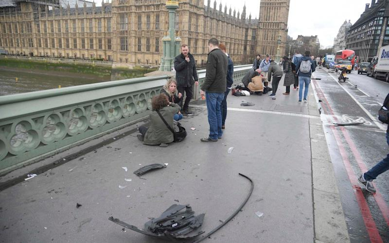 Trail of destruction on Westminster Bridge - Credit: Reuters