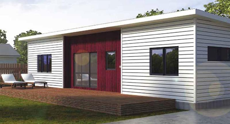 The Highland model home with four bedrooms being sold by Bunnings in New Zealand.