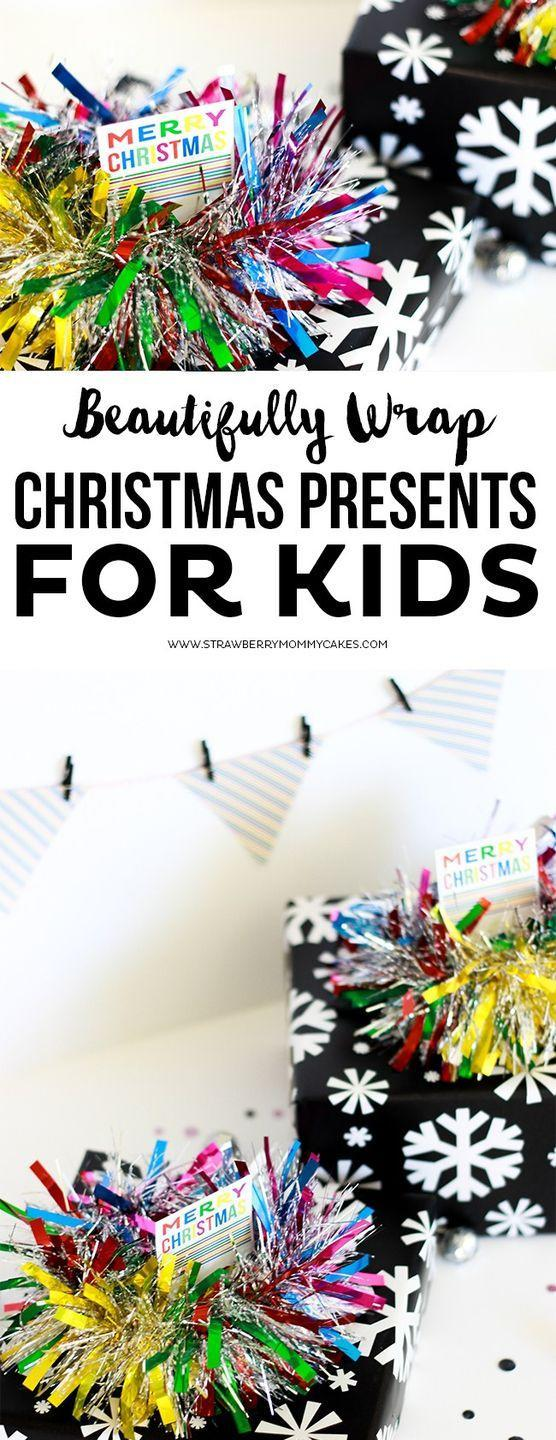 """<p>Repurpose any tinsel you have around the house into a funny and quirky present topper. Simply clip a couple inches off, then secure it the package with double-sided tape. </p><p>Get the tutorial at <a href=""""https://printablecrush.com/how-to-beautifully-wrap-christmas-presents-for-kids/"""" rel=""""nofollow noopener"""" target=""""_blank"""" data-ylk=""""slk:Printable Crush"""" class=""""link rapid-noclick-resp"""">Printable Crush</a>.</p><p><a class=""""link rapid-noclick-resp"""" href=""""https://www.amazon.com/DECORA-Christmas-Decorations-Birthday-Supplies/dp/B073SMP1QP?tag=syn-yahoo-20&ascsubtag=%5Bartid%7C10072.g.34015639%5Bsrc%7Cyahoo-us"""" rel=""""nofollow noopener"""" target=""""_blank"""" data-ylk=""""slk:SHOP TINSEL"""">SHOP TINSEL</a></p>"""
