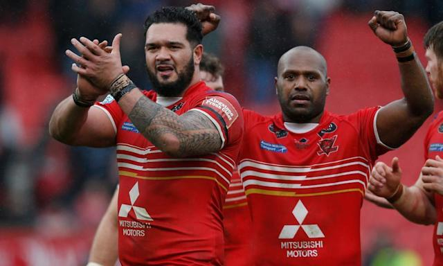 "<span class=""element-image__caption"">Ben Murdoch-Masila, left, celebrates after his two tries helped Salford defeat Castleford 13-12.</span> <span class=""element-image__credit"">Photograph: Ed Sykes/Reuters</span>"