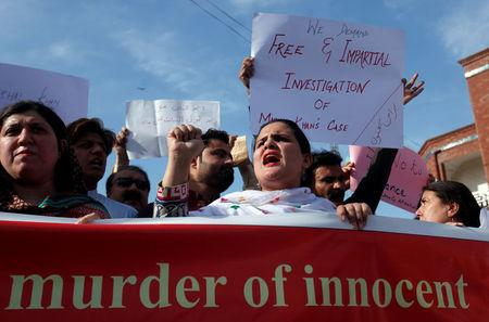 People demonstrate after the killing of Mashal Khan by a mob at Abdul Wali Khan University in Mardan, during a protest in Peshawar