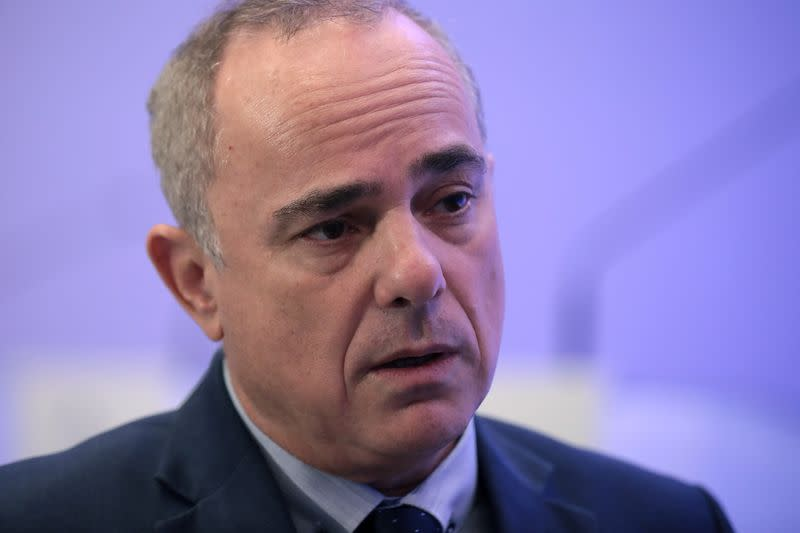 FILE PHOTO: Israeli Energy Minister Yuval Steinitz speaks during an interview with Reuters in Athens