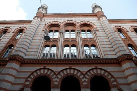 The facade of the Rumbach street synagogue is seen in Budapest