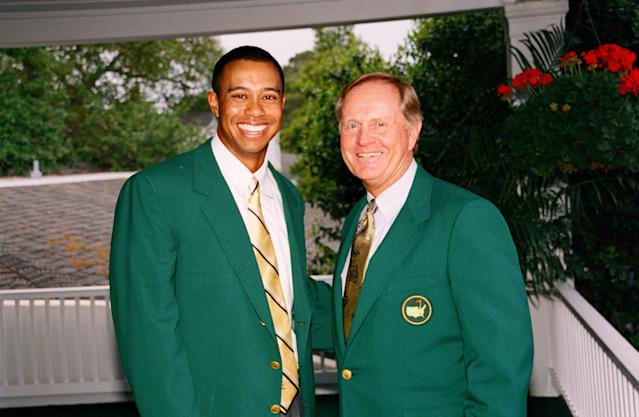 "<a class=""link rapid-noclick-resp"" href=""/pga/players/147/"" data-ylk=""slk:Tiger Woods"">Tiger Woods</a>, Jack Nicklaus in 2002. (Photo by Augusta National/Getty Images)"