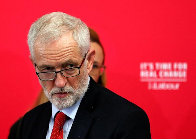 Britain's opposition Labour Party leader Jeremy Corbyn speaks on new digital infrastructure policy as part of his general election campaign in Lancaster, Britain November 15, 2019. Photo: REUTERS/Andrew Yates