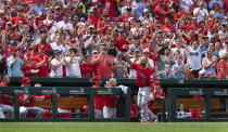 FILE - Los Angeles Angels' Albert Pujols waves to fans after getting a curtain call when he hit a home run during seventh inning of a baseball game against the St. Louis Cardinals in St. Louis, in this Saturday, June 22, 2019, file photo. Pujols has been designated for assignment by the Los Angeles Angels, abruptly ending the 41-year-old superstar slugger's decade with his second major league team. The Angels announced the move Thursday, May 6, 2021, a day after Pujols wasn't in their lineup for their fourth consecutive loss. (AP Photo/L.G. Patterson, File)