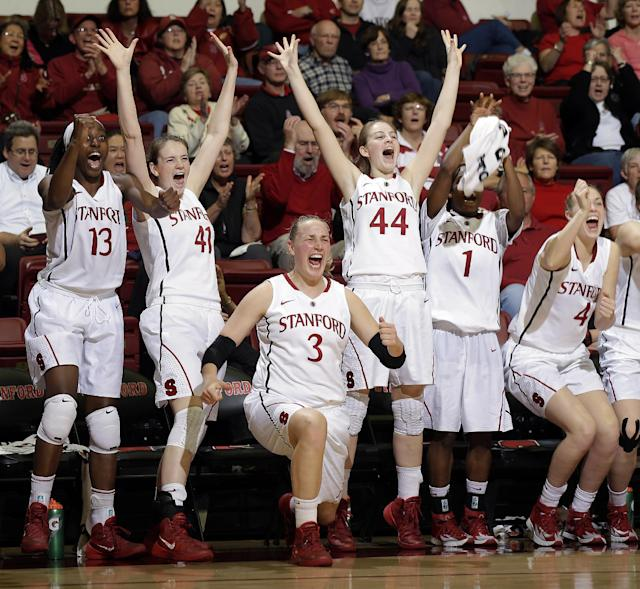 Stanford players celebrate from the bench in the closing minutes of a 61-35 win over Arizona State in an NCAA college basketball game Friday, Feb. 14, 2014, in Stanford, Calif. (AP Photo/Marcio Jose Sanchez)