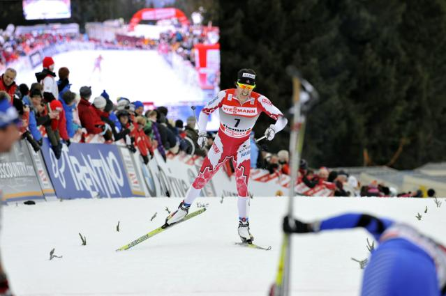 VAL DI FIEMME, ITALY - JANUARY 09: (FRANCE OUT) Devon Kershaw of Canada competes during the FIS Cross-Country World Cup Tour de Ski Men's 9 km Final Climb on January 9, 2011 in Val di Fiemme, Italy. (Photo by Philippe Montigny/Agence Zoom/Getty Images)