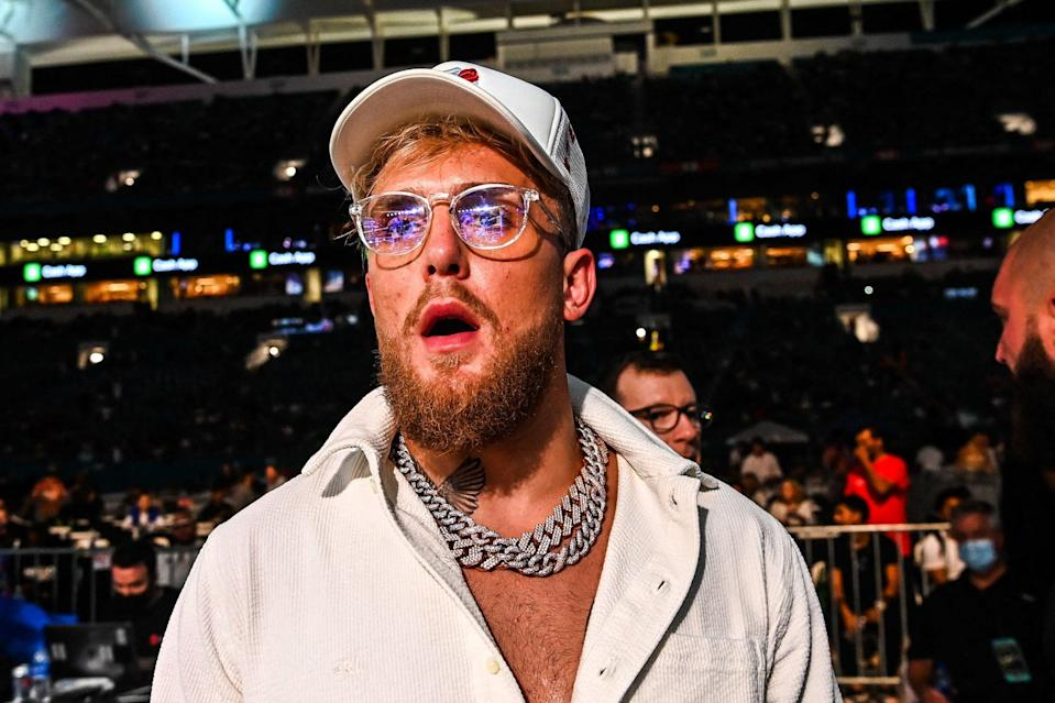 <p>Jake Paul was at ringside in Miami to support brother Logan against Floyd Mayweather</p> (AFP via Getty Images)