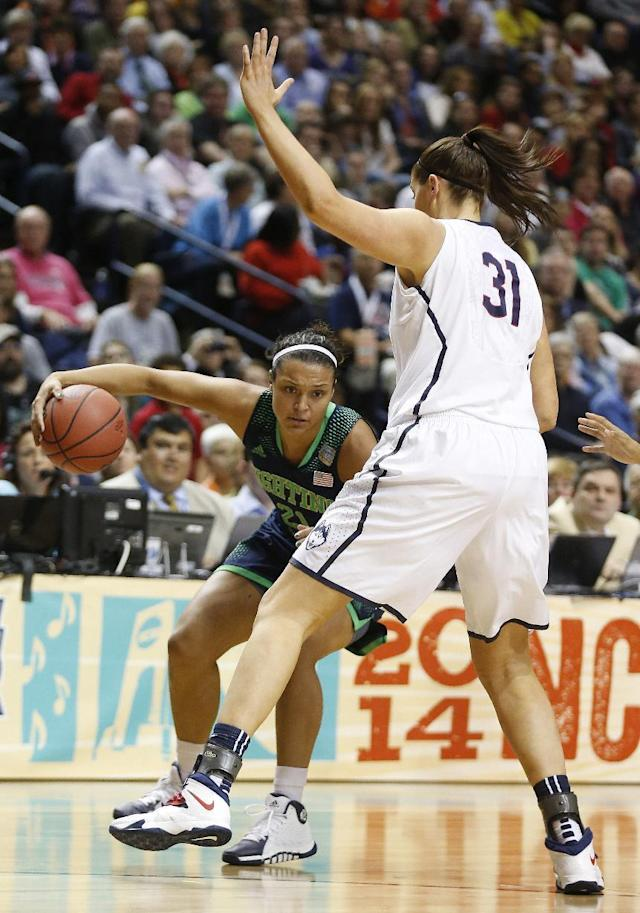 Notre Dame guard Kayla McBride (21) moves by Connecticut center Stefanie Dolson (31) during the first half of the championship game in the Final Four of the NCAA women's college basketball tournament, Tuesday, April 8, 2014, in Nashville, Tenn. (AP Photo/John Bazemore)