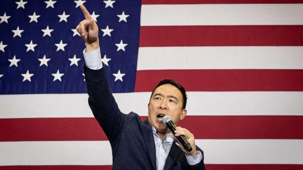PHOTO: Democratic Presidential Candidate Andrew Yang speaks to supporters at a rally in Iowa City, Iowa, Dec. 14, 2019. (EPA via REX/Shutterstock, FILE)