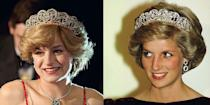 <p>By far the most important accessory to get right: the iconic Spencer Tiara. Princess Diana wore her family heirloom on the day of her wedding and continued to sport it at events thereafter. <em>The Crown </em>depicted Diana wearing it on several occasions in season four and recreated the design precisely right. </p>