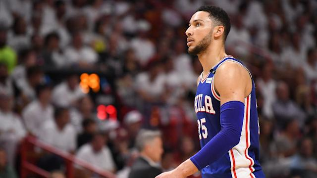 "<a class=""link rapid-noclick-resp"" href=""/nba/teams/phi"" data-ylk=""slk:76ers"">76ers</a> star <a class=""link rapid-noclick-resp"" href=""/nba/players/5600/"" data-ylk=""slk:Ben Simmons"">Ben Simmons</a> is averaging 12 points, 9.3 rebounds and 7.7 assists this season. (AP)"