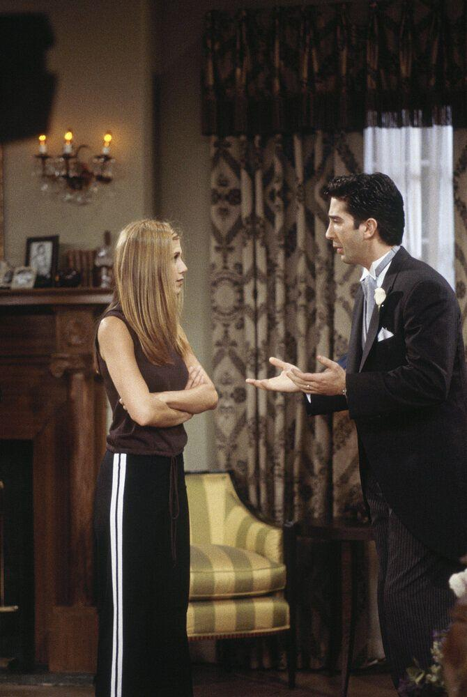 'The One After Ross Says Rachel' Episode 1 -- Pictured: (l-r) Jennifer Aniston as Rachel Greene, David Schwimmer as Ross Geller (Photo by J. Delvalle/NBC/NBCU Photo Bank via Getty Images)