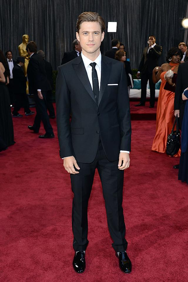 Aaron Tveit arrives at the Oscars in Hollywood, California, on February 24, 2013.