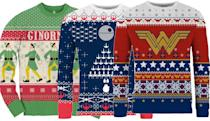 """<p>What better way to show off both your super-fandom and your holiday spirit than with one of these eye-popping outergarments from the geek-loving merchants at Merchoid. <em>Elf</em>, <em>Star Wars</em>, <em>Wonder Woman</em>, <em>Rick and Morty</em>, <em>Bob's Burgers</em>… whatever your obsession, chances are there's a matching sweater here.<br><strong>Buy: <a href=""""https://www.merchoid.com/stuff/hoodies-and-sweatshirts/christmas-jumpers/"""" rel=""""nofollow noopener"""" target=""""_blank"""" data-ylk=""""slk:Merchoid"""" class=""""link rapid-noclick-resp"""">Merchoid</a></strong> </p>"""