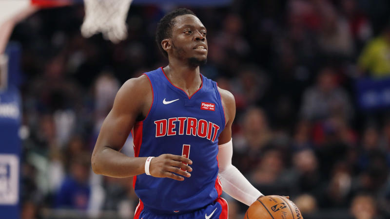Detroit Pistons guard Reggie Jackson brings the ball up court during the first half of an NBA basketball game, Thursday, Oct. 24, 2019, in Detroit. (AP Photo/Carlos Osorio)