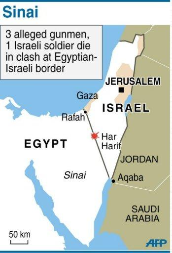 Map of the Egypt-Irael border region locating clashes in the Sinai Peninsula. An Israeli soldier and three militants who infiltrated from Egypt's Sinai Peninsula have been killed in clashes along the border, the army says