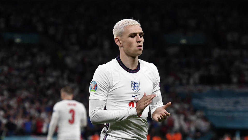 England's Phil Foden during the Euro 2020 soccer championship semifinal match between England and Denmark at Wembley Stadium in London, Wednesday, July 7, 2021. (Andy Rain/Pool via AP)