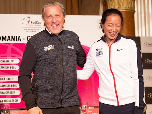 Nastase and Keothavong at the pre-tie press conference (Getty)