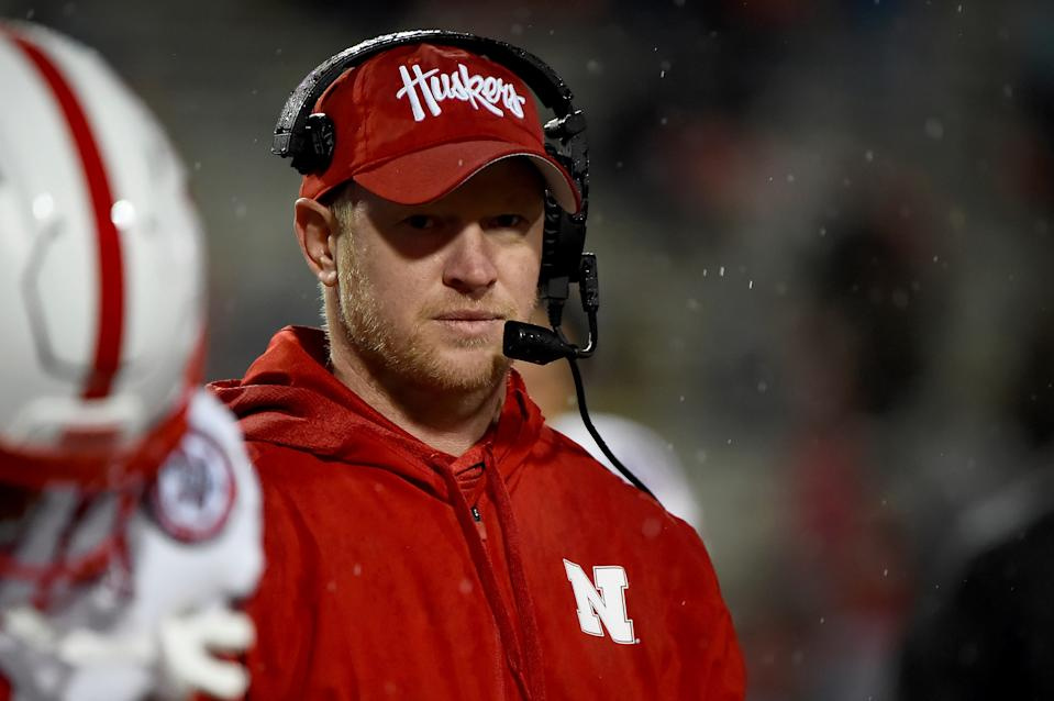 FILE - In this Nov. 23, 2019, file photo, Nebraska head coach Scott Frost looks on during the second half of an NCAA college football game against Maryland in College Park, Md.  The Big Ten will start playing football at what normally would be midseason. The coronavirus pandemic limited or eliminated most spring practices. Positive COVID-19 tests and precautions, along with uncertainty about whether there would even be a season, caused disruptions in summer workouts and preseason practices. (AP Photo/Will Newton, File)