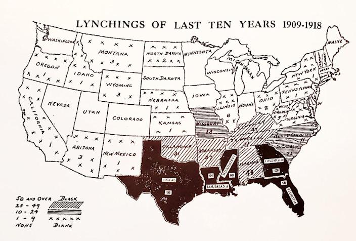 "<span class=""caption"">An early 20th-century NAACP map showing lynchings between 1909 and 1918. The maps were sent to politicians and newspapers in an effort to spur legislation protecting Black Americans.</span> <span class=""attribution""><a class=""link rapid-noclick-resp"" href=""https://www.loc.gov/static/classroom-materials/naacp-a-century-in-the-fight-for-freedom/documents/lynching.pdf"" rel=""nofollow noopener"" target=""_blank"" data-ylk=""slk:Library of Congress"">Library of Congress</a></span>"