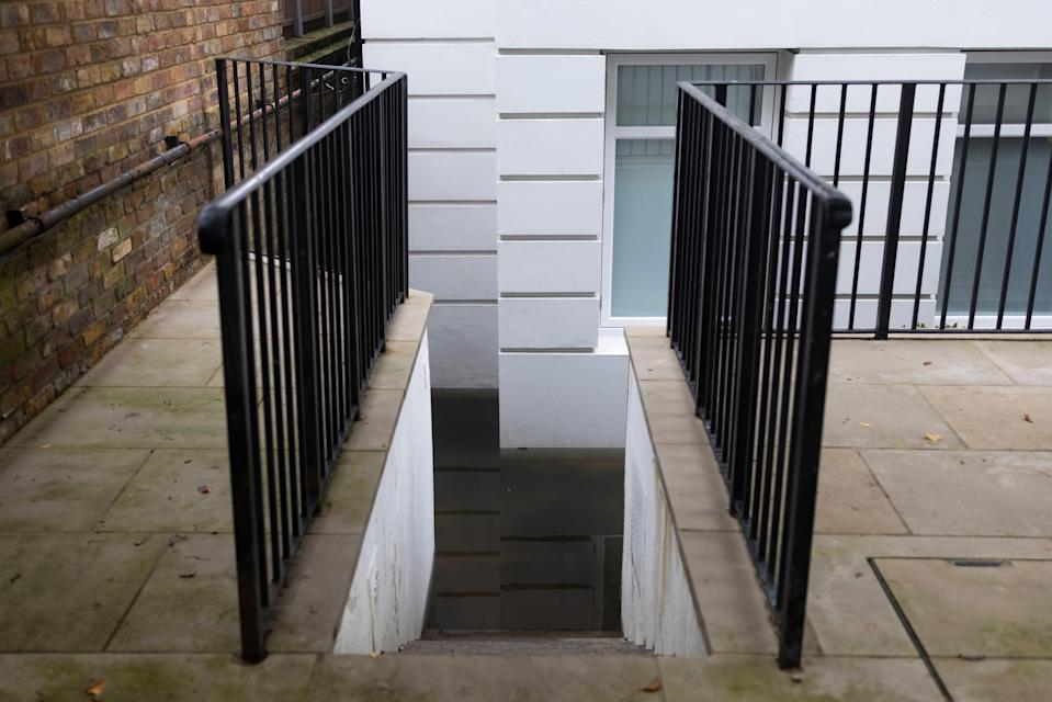 A flooded ground floor flat near Portobello Road on Tuesday in London (Getty Images)