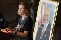 Rep. Debbie Wasserman-Schultz, D-Fla., speaks during a Celebration of Life for Rep. Alcee Hastings, D-Fla., in Statuary Hall on Capitol Hill in Washington, Wednesday, April 21, 2021. Hastings died earlier this month, aged 84, following a battle with pancreatic cancer. (AP Photo, Susan Walsh, Pool)
