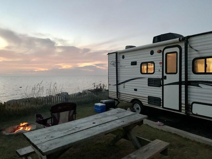 RV camping at Rodanthe Watersports and Campground on the NC Outer Banks, Nov. 2020