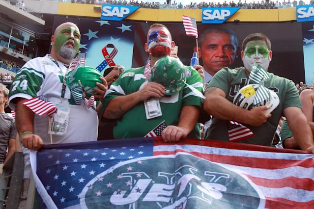 <p>Fans listen to a message from President Barack Obama before a game between the New York Jets and the Cincinnati Bengals at MetLife Stadium. Mandatory Credit: Brad Penner-USA TODAY Sports </p>