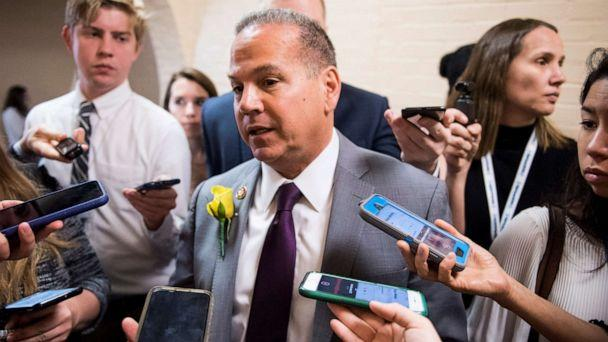 PHOTO: Rep. David Cicilline speaks with reporters as he leaves the House Democratic caucus meeting in the Capitol on May 21, 2019. (Bill Clark/CQ Roll Call via Newscom)