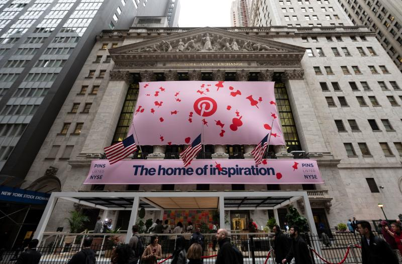 The Pinterest Inc.logo is seen outside the New York Stock Exchange (NYSE) during the company's IPO on April 18, 2019 in New York City. (Photo by Johannes EISELE / AFP) (Photo credit should read JOHANNES EISELE/AFP/Getty Images)