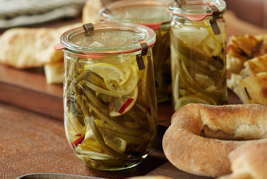 """These hot and sour pickles make a perfect garnish for Bloody Beers (click for recipe). <a href=""""https://www.bonappetit.com/recipe/spicy-pickled-green-beans-and-fennel?mbid=synd_yahoo_rss"""" rel=""""nofollow noopener"""" target=""""_blank"""" data-ylk=""""slk:See recipe."""" class=""""link rapid-noclick-resp"""">See recipe.</a>"""