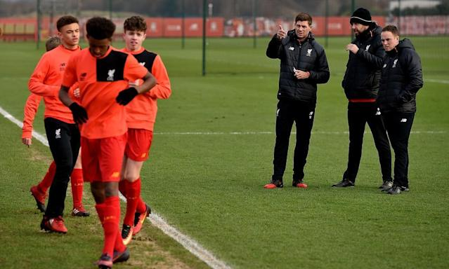 "<span class=""element-image__caption"">Steven Gerrard's first day as a Liverpool academy coach, on 1 February.</span> <span class=""element-image__credit"">Photograph: Andrew Powell/Liverpool FC via Getty Images</span>"