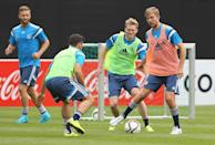 Germany midfielders Andre Schuerrle (2R) and Christoph Kramer (R) train with teammates in Frankfurt on September 2, 2015 prior to the Euro 2016 qualifier against Poland on September 4 (AFP Photo/Daniel Roland)
