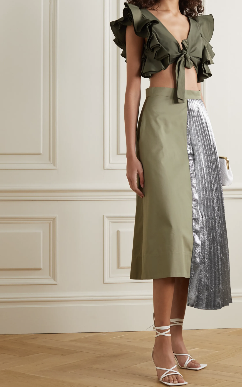 Artclub Hermes asymmetric pleated cotton and lamé midi skirt. (PHOTO: Net-A-Porter)