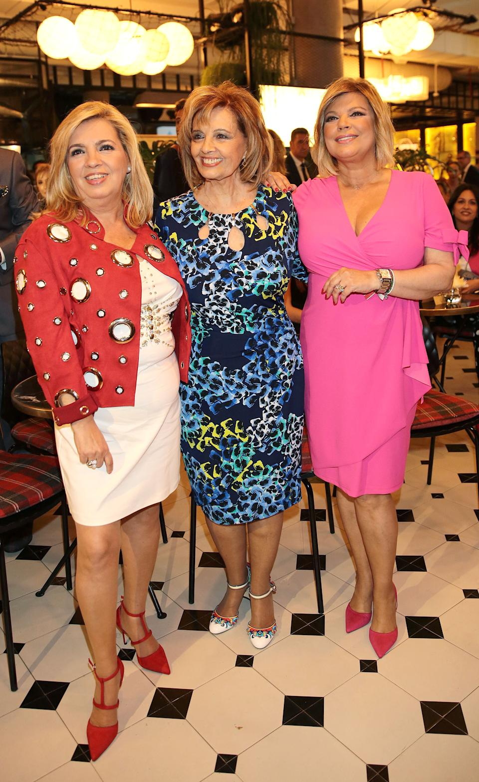 MADRID, SPAIN - MAY 23:  Maria Teresa Campos (C) and Carmen Borrego (L) attend the presentation of the launching of Terelu Campos's (R )first jewellry collection 'TRLU' on May 23, 2018 in Madrid, Spain.  (Photo by Europa Press/Europa Press via Getty Images)