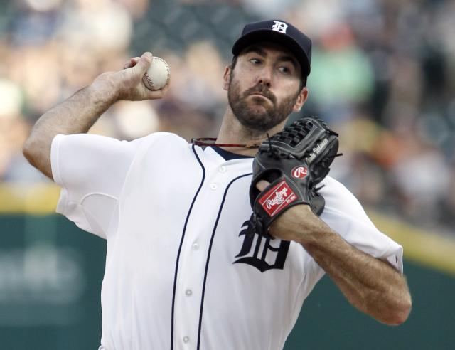 DETROIT, MI - JUNE 16: Pitcher Justin Verlander #35 of the Detroit Tigers delivers against the Kansas City Royals during the second inning at Comerica Park on June 16, 2014 in Detroit, Michigan. (Photo by Duane Burleson/Getty Images)