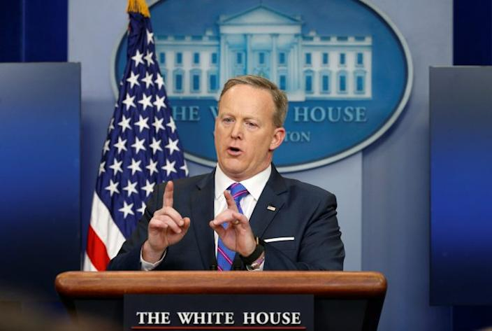 White House spokesman Sean Spicer holds a press briefing at the White House in Washington. (Photo: Kevin Lamarque/Reuters)