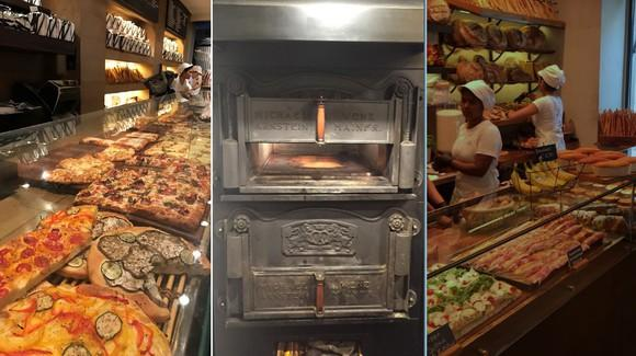 A variety of fresh-baked Princi pizzas and other foods.