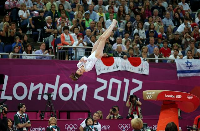 <p>McKayla Maroney Maroney of United States competes in the Artistic Gymnastics Women's Vault final on Day 9 of the London 2012 Olympic Games at North Greenwich Arena on August 5, 2012 in London, England. (Photo by Ezra Shaw/Getty Images) </p>