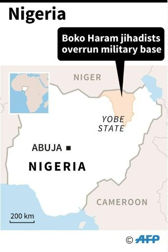 Map locating Yobe state, where Boko Haram jihadists have overrun a military base after a ferocious firefight, according to security sources