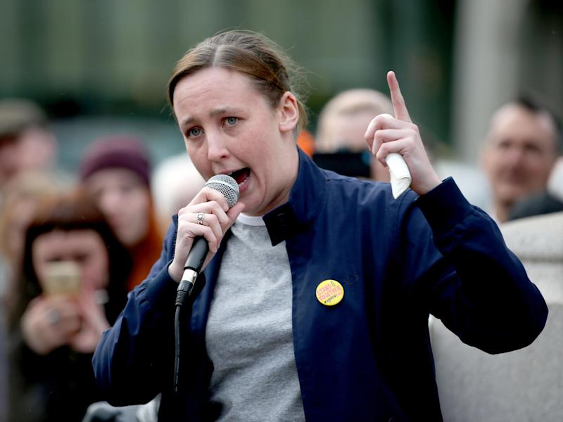 SNP MP Mhairi Black speaks during a protest in George Square, Glasgow: PA