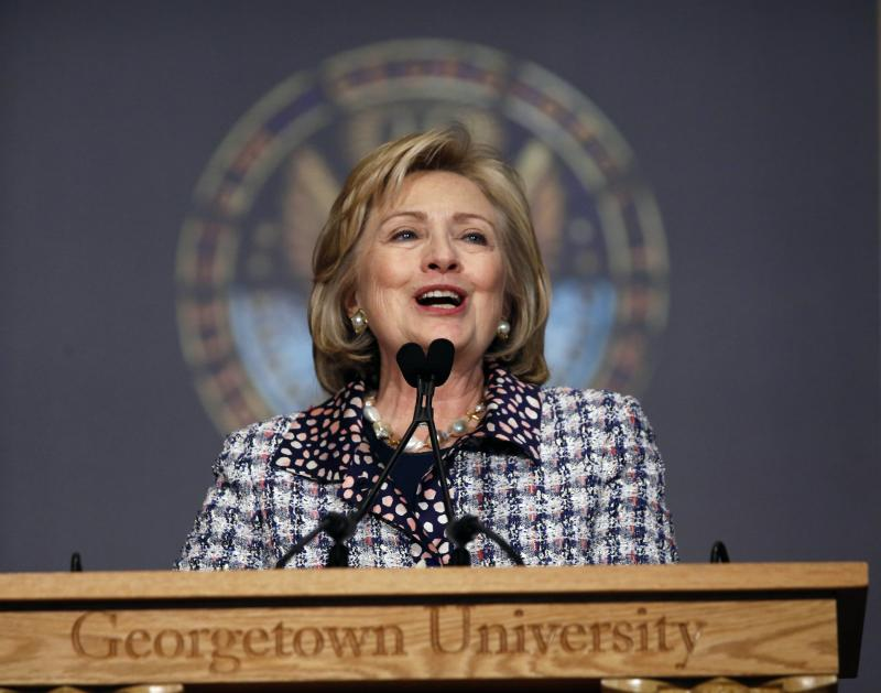 File photo of former U.S. Secretary of State Clinton speaking at a symposium in Washington