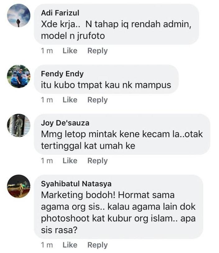 Some of the comments from social media users who were upset over the images. ― Screengrab via Facebook/Nur Amirah Mohd Amiruddin
