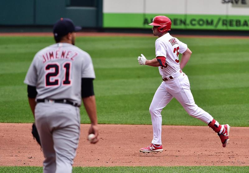 Cardinals right fielder Lane Thomas runs the bases after hitting a two-run home run off of Tigers pitcher Joe Jimenez during the third inning of the Tigers' 12-2 loss in the first game of a doubleheader on Thursday, Sept. 10, 2020, in St. Louis.
